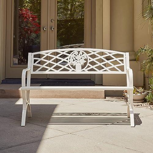 "popular BELLEZE discount wholesale 50"" inch Outdoor Park Bench Garden Backyard Furniture Chair Porch Seat Steel Frame, White outlet online sale"