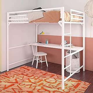 DHP Miles Metal Loft Desk, Kids & Teens Full Size Bunk, White Beds,
