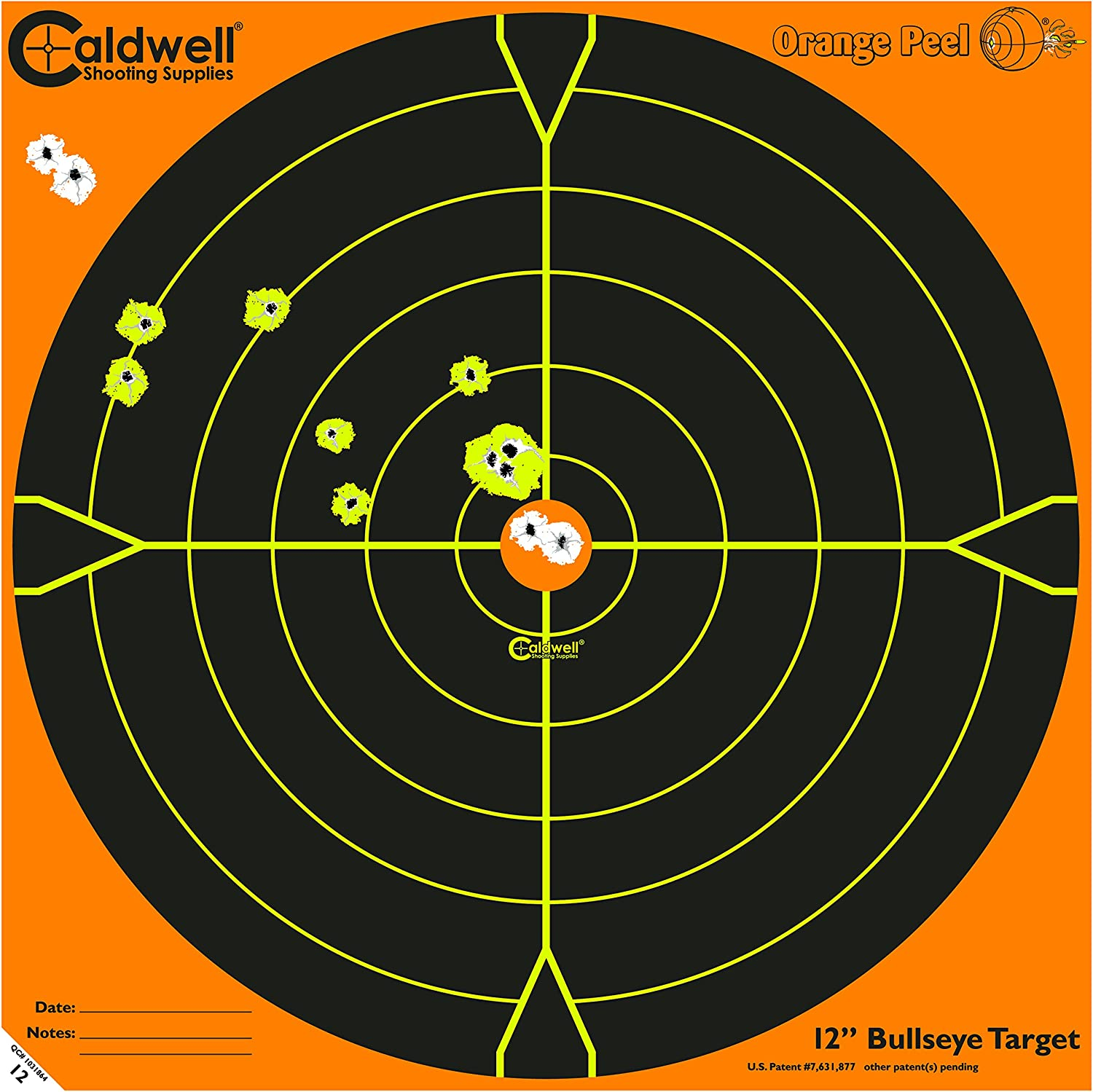 Caldwell orange Peel Bullseye Targets with Flake Off Material, Strong Adhesive and Multiple Sizes for Outdoor, Range, Shooting and Hunting