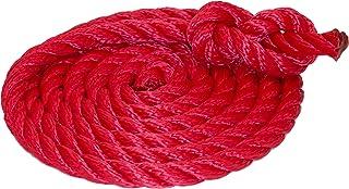 Hamburger Tauwerk Fabrik Tauwerk 10mm - Farbe: Rot 3-litzig Gedreht Leine Schnur Festmacher Rope Tau Seil Allzweckseil Reepschnur Lirolen-Tauwerk PP-Multifil, 3-schäftig Gedreht Länge 10mtr.