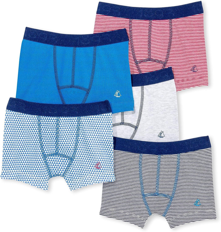 Petit Bateau Boys Boxers 5 Pack Style 15434 Sizes 2/12 Months
