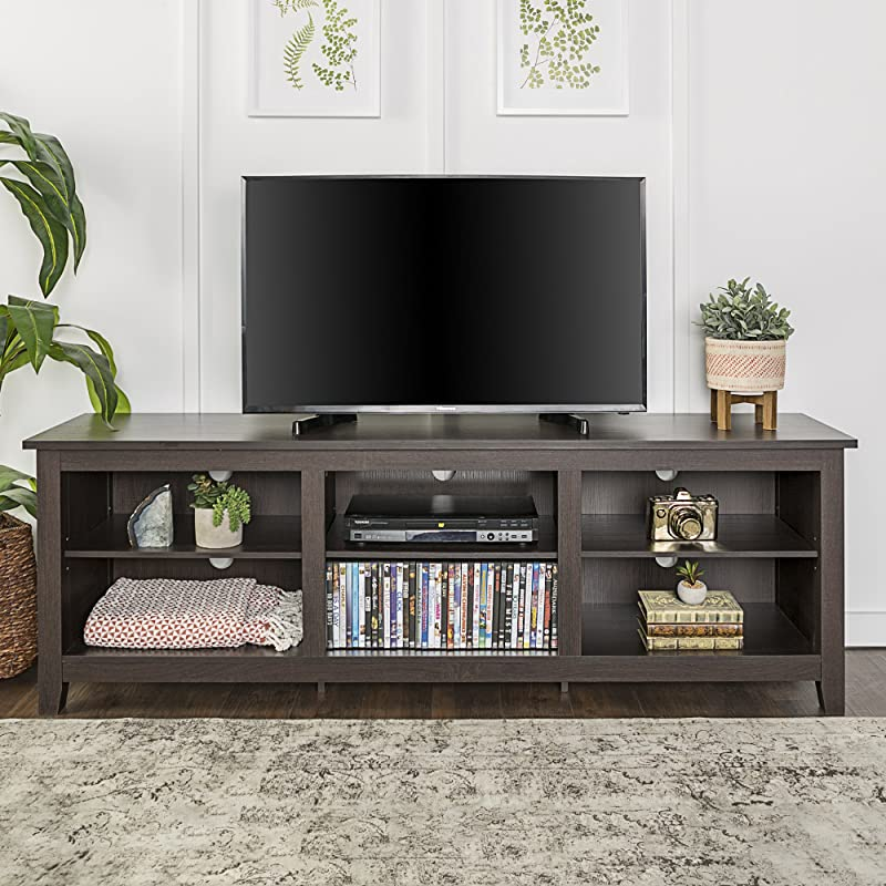 WE Furniture 70 Espresso Wood TV Stand Console For Flat Screen TV S Up To 50 Entertainment Center