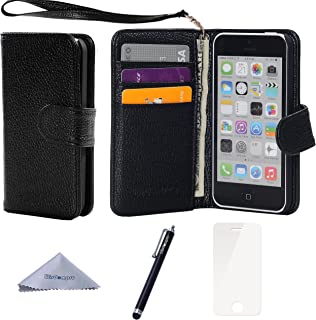 Wisdompro iPhone 5c Case, Premium PU Leather 2-in-1 Protective Flip Folio Wallet Case with Multiple Credit Card Holder Slots and Wrist Lanyard for Apple iPhone 5c (Black with Lanyard)
