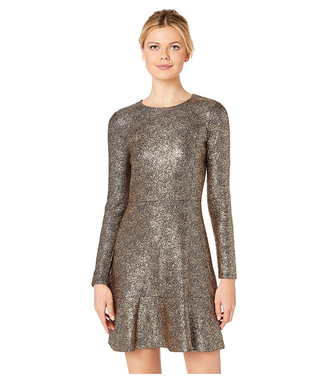 [マイケルコース] レディース ワンピース Foil Knit Long Sleeve Flounce Dress [並行輸入品]