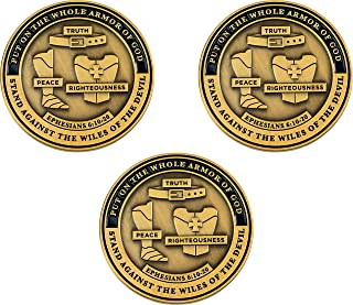 Armor of God, The Complete Armor Set, Bulk Pack of 3 Bible Study Challenge Coins, Memory Verse Tool for Teens, Men & Wome...