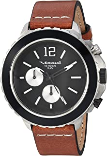 Vestal 'Yacht' Quartz Stainless Steel and Leather Watch, Color Brown (Model: YAT44C03.LBWH)