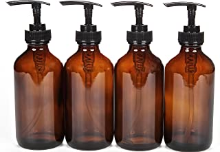 Vivaplex, 4, Large, 8 oz, Empty, Amber Glass Bottles with Black Lotion Pumps