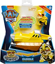 PAW PATROL 6056874 Mighty Pups Charged Up Rubble's Deluxe Fahrzeug mit Licht und Sounds, Mehrfarbig