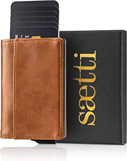 SAETTI Wallet Card Holders Leather – Smart Pop Up Minimalist Slim RFID and NFC Blocking Credit Card Holder with Gift Box -...