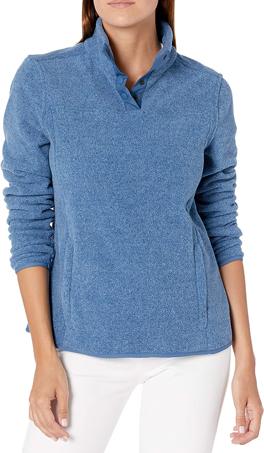 Amazon Essentials Women's Polar Fleece Long Sleeve Mock Neck Relaxed-Fit Popover Jacket with Pockets