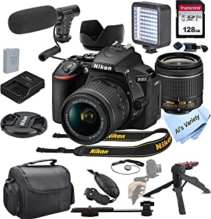 Nikon D5600 DSLR Camera with 18-55mm VR Lens + Shot-Gun Microphone + LED Always on Light+ 128GB Card, Gripod, Case, and Mo...