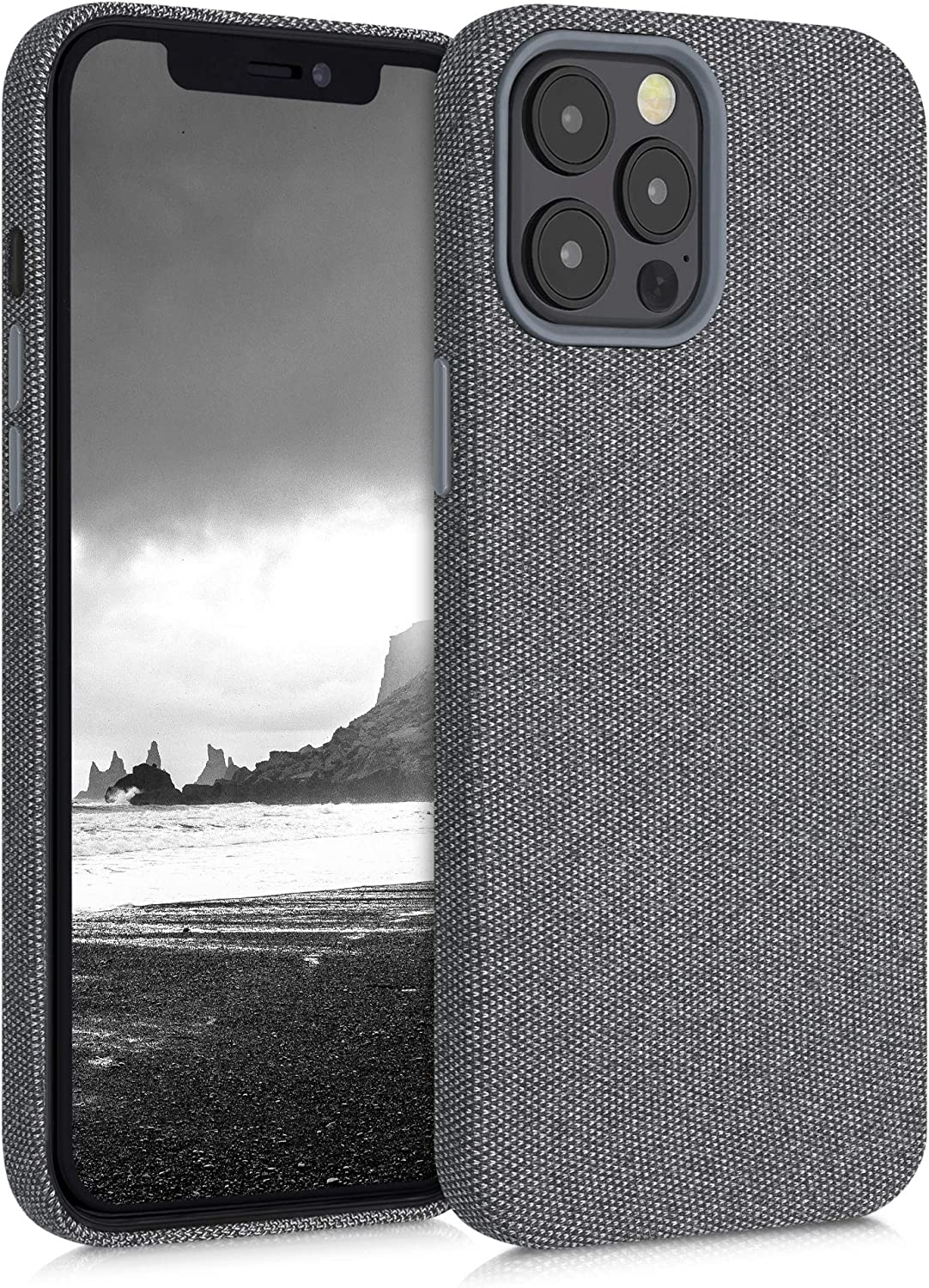 kwmobile Case Compatible with Apple iPhone 12 Pro Max - Case TPU and Fabric Smartphone Phone Cover in Canvas