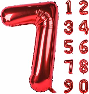 40 Inch Red Large Numbers 0-9 Birthday Party Decorations Helium Foil Mylar Big Number Balloon Digital 7