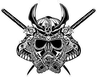 Samurai gas mask 4x5 inches sticker decal die cut vinyl - Made and Shipped in USA