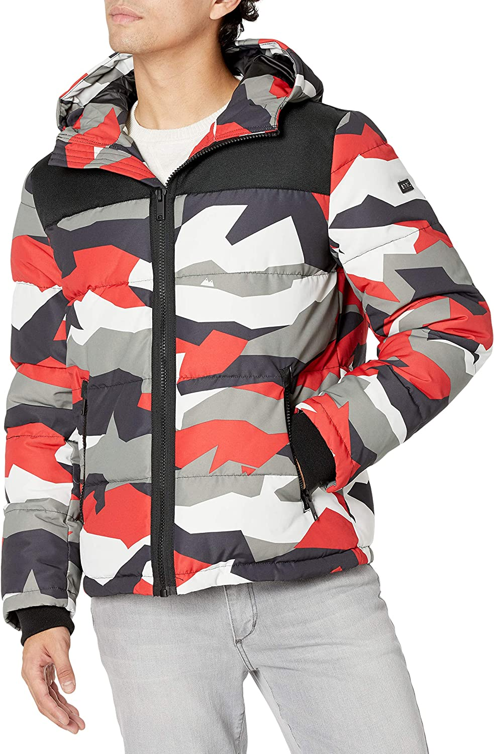 DKNY Men's Shawn Quilted Mixed Media Hooded Puffer Jacket