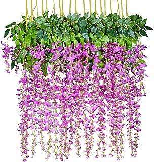 Best 12 Pack 1 Piece 3.6 Feet Artificial Flowers Silk Wisteria Vine Ratta Hanging Flower for Wedding Garden Floral DIY Living Room Office Decor (Purple) Review