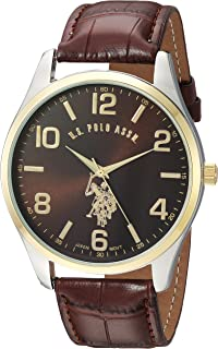 U.S. Polo Assn. Mens Quartz Watch, Analog Display and Leather Strap USC50225