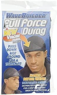 WaveBuilder Premium Hair Wave Full Force Durag, Black