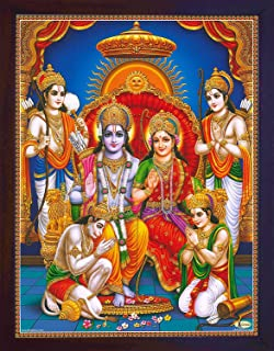 Handicraftstore Hanuman in Holy Ram Darbar, Lord Ram with Sita and Bharat and Hanuman Showing his Gratitude, A Poster Print for Home Decor and Gift Purpose.