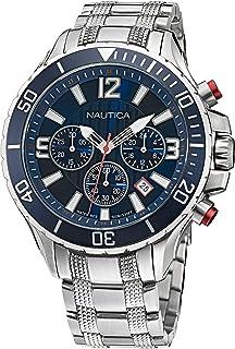 Nautica Men's Quartz Stainless Steel Strap, Silver, 22 Casual Watch (Model: NAPNSS123)
