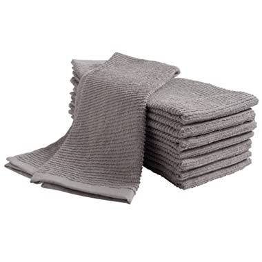Pantry Tumble Cotton Terry Dish Cloth (8 Pack, 16 x 26), Ultra Absorbent, Home Decor, Kitchen Bar Towel Set - Drizzle (Grey)