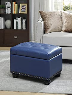 Convenience Concepts Designs4Comfort 5th Avenue Storage Ottoman, Blue PU