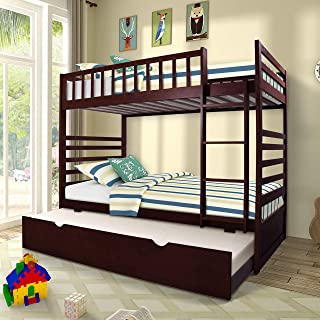 Merax Twin Over Twin Bunk Bed Wooden Bunk Bed with Trundle and Storage Drawers Twin Bunk Bed with Ladder and Guardrails for Kids (Espresso)