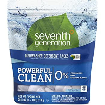 Seventh Generation Dishwasher Detergent Packs, Free & Clear, 45 count