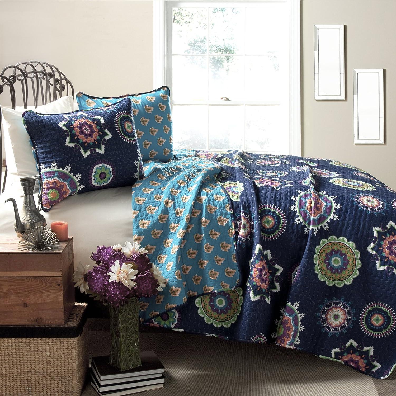 Lush Decor Adrianne 3-Piece Quilt Set, King, Navy