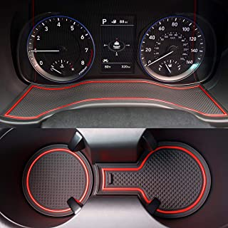 Custom Fit Cup, Door, Center Console Liner Accessories for 2018 2019 2020 Hyundai Kona 19PC Set (Red Trim)