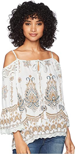 Cold Shoulder with Lace Trim Top