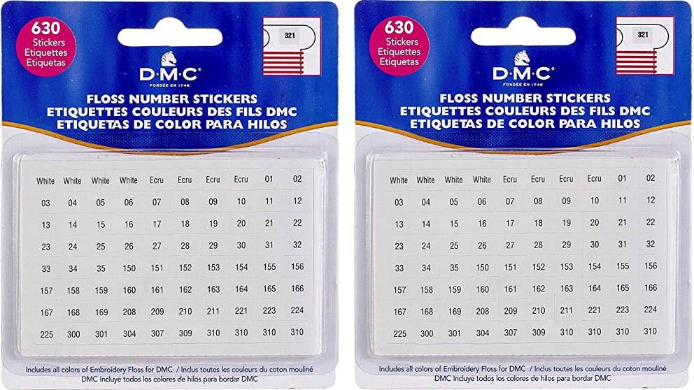 DMC 6103 Floss Number Stickers, 630-Stickers (2 Pack)