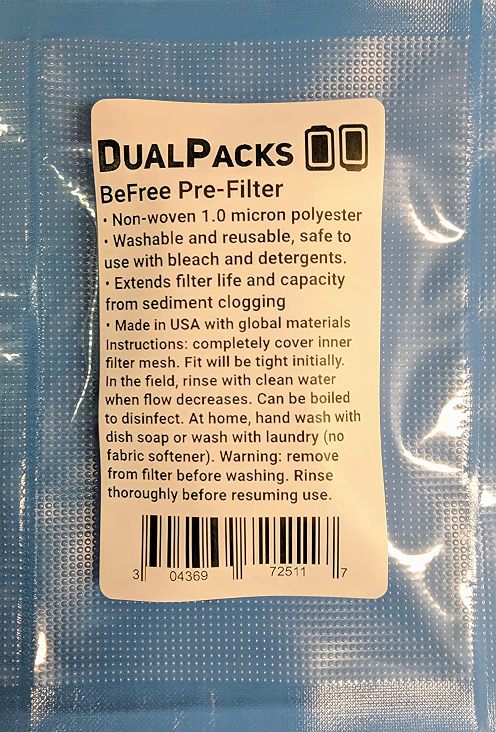 DualPacks 1.0 Micron Sediment Pre-Filter Compatible with Katadyn BeFree Made