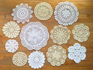 12Pcs Hand Crochet Lace Doilies Handmade Round Cotton Lace Table Placemats Coasters, Varied Sizes, 6-13 Inches, White and Beige (12 Pcs)