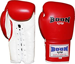 Boon Thai Style Lace-Up Training Gloves-Red-16oz.