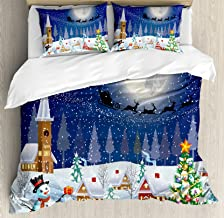 Ambesonne Christmas Duvet Cover Set, Winter Season Snowman Xmas Tree Santa Sleigh Moon Present Boxes Snow and Stars, Decorative 3 Piece Bedding Set with 2 Pillow Shams, Queen Size, White Blue