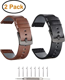 Gear S3 Frontier/Classic Band 2 Pack Adeals Quick Release 22mm Genuine Leather Replacement Watch Band Strap for Samsung Gear S3 Frontier/Classic Sports Smartwatch (Black + Brown 2 in 1, 22mm)