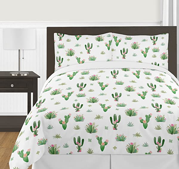 Pink And Green Boho Watercolor Cactus Floral Girl Full Queen Kid Childrens Bedding Comforter Set 3 Pieces