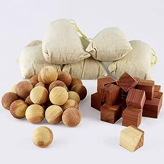 Aszaro Cedar Balls, Cedar Cubes & Cedar Sachets 40 pc Combo Pack | 20 Natural Cedar Wood Balls, 20 Blocks & 5 Bonus Sachets | for Easy Garment Care