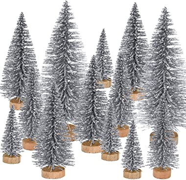 Pangda 42 Pieces Mini Christmas Tree Artificial Sisal Tabletop Sisal with Wood Base for Christmas Decoration, 4 Sizes (Silver