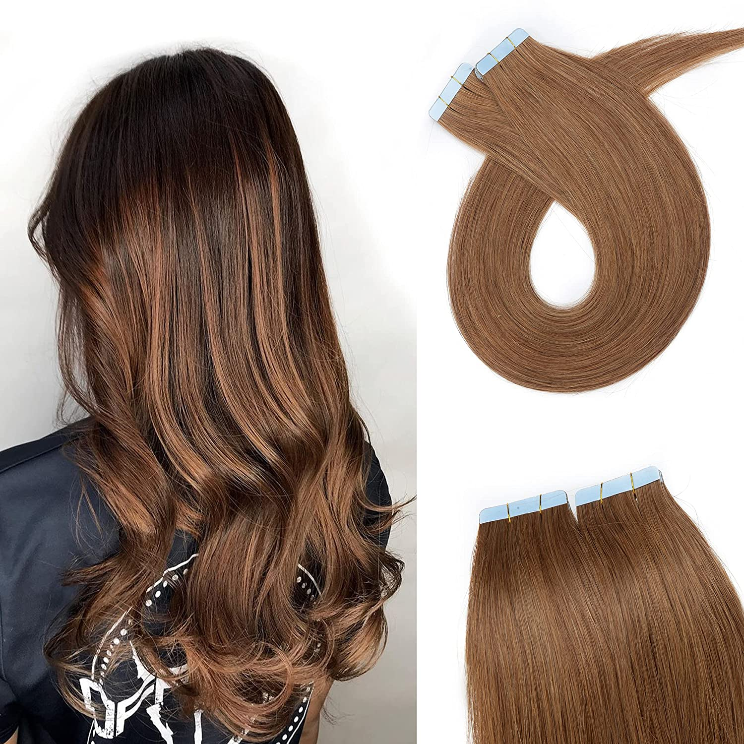 SEGO 18 Inch Direct store Tape In Hair Brown 20pcs Extensions Light 50g Ranking integrated 1st place Omb
