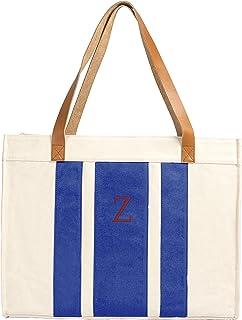 حقيبة قماشية مخططة مع مقابض جلدية من كيثيز كونسيبتس OS 2178BU-Z