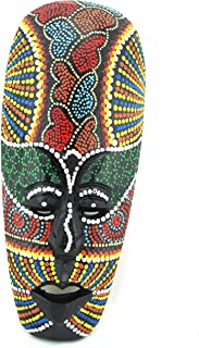 Blue Orchid Small African Mask - Hand Painted Aboriginal Dot Art - Tribal Tiki Masks Wall Hanging Decor (Jamaican Queen)