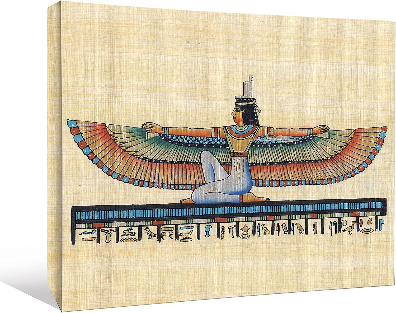 JP London Ancient Egyptian Hieroglyphics Papyrus Pyramids Gallery Wrap Heavyweight Canvas Art Wall Decor, 1.5' High by 2' Wide