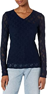 Only Hearts Women's Long Stretch Lace V-Neck Wrap Tee