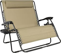 Best Choice Products 2-Person Double Wide Folding Mesh Zero Gravity Chair with Cup Holders, Tan