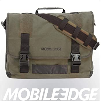 Mobile Edge Laptop Eco Messenger Eco-Friendly, 17.3 Inch Cotton Canvas, Olive Green for Men, Women, Business, Student MECME9