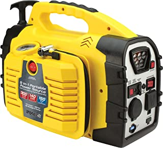 Rally Portable 8 in 1 Jump Starter and Power Source Unit with Air Compressor/Tire Inflator, AC/DC Power Outlets, LED Work Light and Hand Generator (7471)