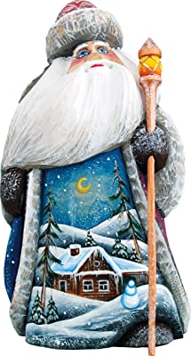 G. Debrekht Winter House Sant a Figurine, Woodcarved, Hand-Painted, 7-1/4-Inch Tall, Limited Edition of 300