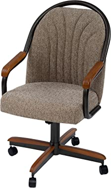 """AW Furniture Casual Dining Barell Swivel and Tilt Rolling Dining Chair - 38"""" Hx24 Wx22 D"""